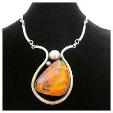 Natural Amber Cabochon Sterling Silver Link Necklace