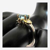 2.8 Carat Blue Zircon Solitaire Diamond Platinum 18k Gold Ring