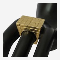 Vintage Eighteen Karat Yellow Gold Geometric Ring