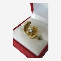 Mid-Century 1/4 Carat Diamond Solitaire 14k Yellow Gold Ring