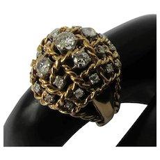 Mid-Century 18k Yellow Gold Diamond Domed Basket-Weave Ring
