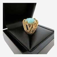 Mid-Century Turquoise Cabochon 14K Gold Ring