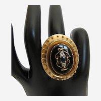 Victorian Diamond Sapphire Onyx 10K Yellow Gold Ring