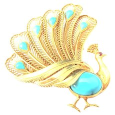 Turquoise Ruby 14K Yellow Gold Peacock Motif Brooch