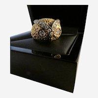 Diamond 14K Yellow Gold Owl-Motif Ring