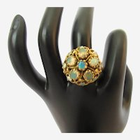 Vintage Opal and 14K Yellow Gold Dome Ring