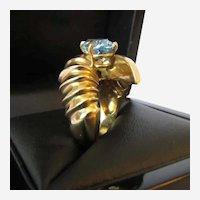 Vintage Blue Topaz 14K Yellow Gold Ring