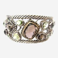Multi-Gemstone Sterling Silver and 18K Yellow Gold Cuff Bracelet