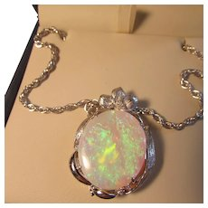 16.65 Carat Opal Solitaire Diamond Accent 18K and 14K White Gold Pendant Necklace