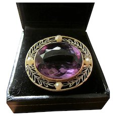 Antique 15 Carat Amethyst and Seed Pearl 14K Gold Pendant/Brooch