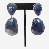 Faceted Blue Sapphire Slice and Diamond Accent Blackened Sterling Earrings
