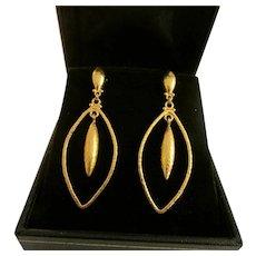 Gurhan 24K Hammered Yellow Gold Dangle Earrings