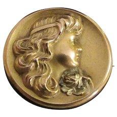 Antique Art Nouveau 14K Yellow Gold Brooch