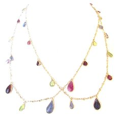 44-inch (Rope Length) Multi-Gemstone Silver-Gilt Necklace