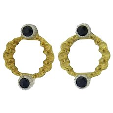 Buccellati Blue Sapphire and 18K White and Yellow Gold Earrings