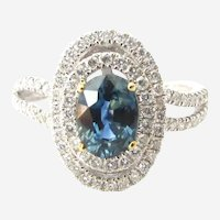 Blue Sapphire Solitaire and Diamond Accent Double Halo 14K White Gold Ring