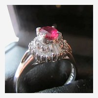 Ruby Solitaire and Diamond Accent Platinum Ring
