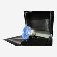 Unheated 22.47-Carat Ceylon Blue Sapphire and Diamond Accent White Gold Ring (GIA Reports)