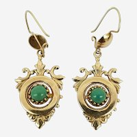 Turquoise Cabochon 14k Yellow Gold Ornate Dangle Earrings