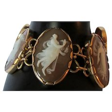 Antique 14k Yellow Gold Carved Shell Cameo Bracelet