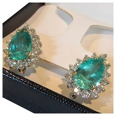 (GIA-Reported) Columbian Emerald and Diamond Accent 18k White and Yellow Gold Earrings