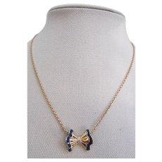 Vintage Van Cleef & Arpels 18k Yellow Gold, Enamel and Diamond Bow Motif Necklace