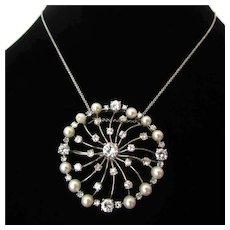Vintage Diamond and 18k White Gold Pendant/Brooch