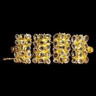 Large Gilded Sterling Silver Amethyst Link Bracelet
