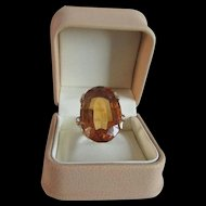 Art Deco Madeira Citrine Ring in 14 Karat Gold with Accent Diamonds