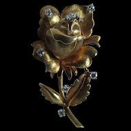 Flower Brooch/Pendant in 18 Karat Gold with Accent Diamonds