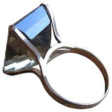 Twenty-Eight Carat Smoky Quartz Solitaire Fourteen Karat Gold Ring