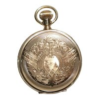 1892 Elgin Ladies Hunt Case Fancy Dial 14K Gold Pocket Watch 6 Size