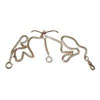 1916 Antique Albert  Style 14 kt Gold Pocket Watch Chain
