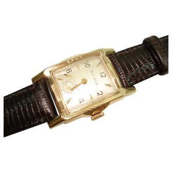 1954 Bulova 14Kt Yellow Gold Mens Wristwatch 17 Jewel 10BM Model Serviced