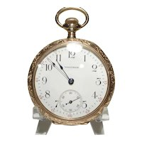 1950 Waltham 14 kt Gold Fancy Etched 16 Size Pocket Watch  15 Jewel
