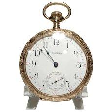 1950 Waltham 14 kt Gold Fancy Etched 16 Size Pocket Watch  15 Jewel