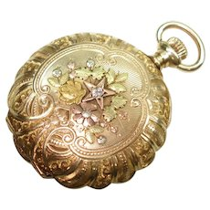14Kt Four Colored Gold Diamond Huntcase 1903 Elgin Pocket Watch 3/O Size