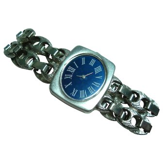 Vintage Mechanical 17 Jewel 800 Silver Blue Dial Ladies Wristwatch and Bracelet Band  Serviced