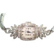 Platinum .50 Ct  Diamond Geneva Ladies Wristwatch Serviced