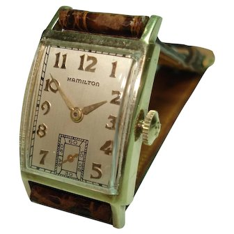 14Kt Gold Men's Hamilton 980 Model Circa 1930's 17 Jewel Mechanical Wristwatch  Serviced