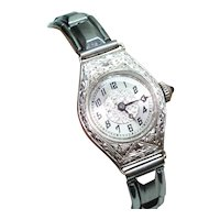 14Kt White Gold Art Deco Etched Case Sapphire Crown Helbros Ladies Wristwatch