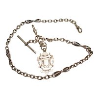 Antique English Sterling Silver Fancy Pocket Watch Chain Sliding  Fob T-Bar by Henry Williamson LTD.