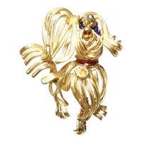 18Kt Gold Enameled Floppy Ear Dog Pin Modernist Maltese Dog Design 13.8 Grams