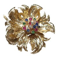 1950's Robert Altman 14 Kt Gold Flower Pin With Diamonds Rubies Emeralds and Sapphires