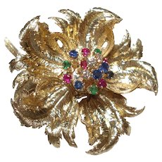 1950's Robert Altman 14 Kt Gold Flower Pin With Diamonds Rubies Emeralds and Sapphires