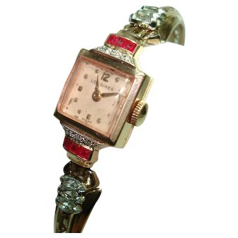 14Kt Rose Gold Ruby Diamond Ladies Longines Wristwatch  Professionally Serviced