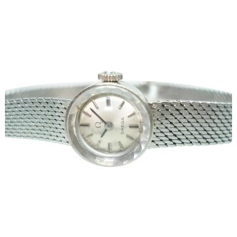 14Kt White Gold Ladies Omega 14 Kt  Bracelet Wristwatch