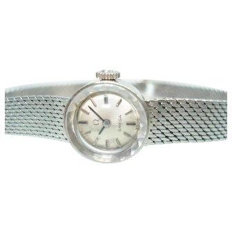 14Kt White Gold Ladies Omega 14 Kt  Bracelet Wristwatch