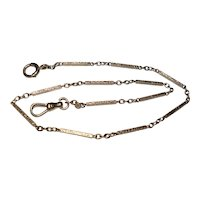 Antique 14Kt White Gold Fancy Etched Bar Link Pocket Watch Chain