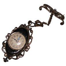 Antique Carl Bucherer Lapel Pin Watch Flip Over Marcasite 800 Silver Black Enamel